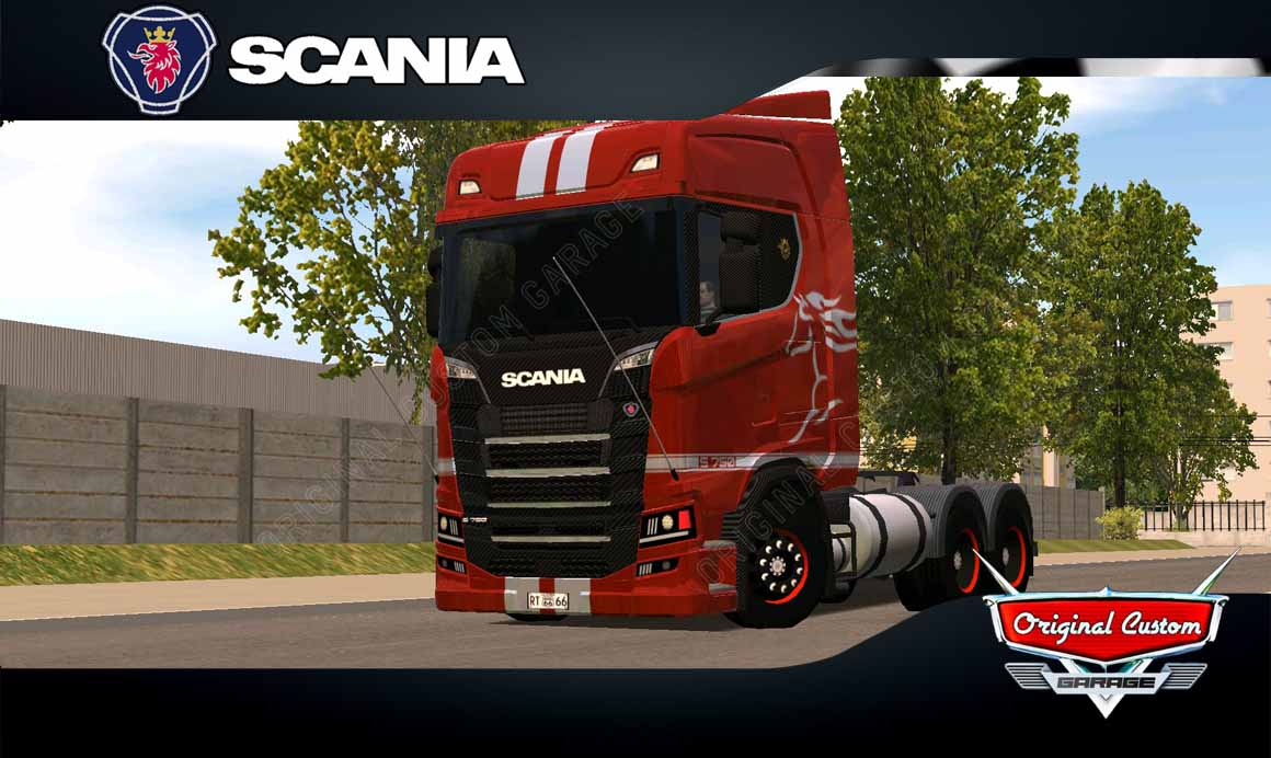 SKINS WORLD TRUCK DRIVING – SCANIA S MUSTANG RED